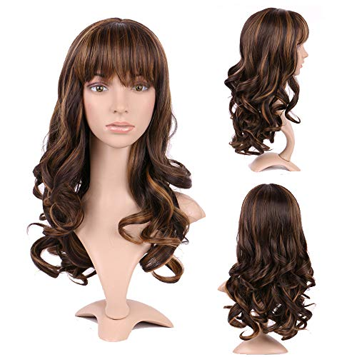 Sexy Big Wave Wigs Black Coffee Brown Two Tone Mixed Syntheitc Wig with Neat Bangs Wavy Hair Tail Adjustable Cap 17inch