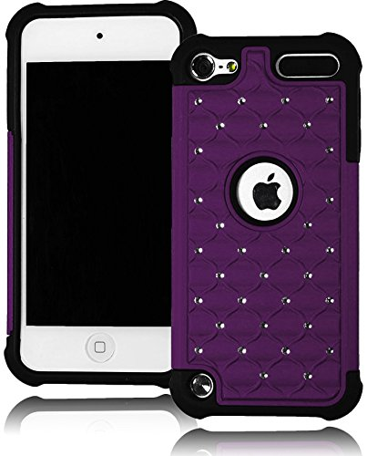 Bastex Heavy Duty Hybrid Case Purple Bling Design Shell Cover for Apple iPod Touch 5 [Compatible with iPod Touch 6]