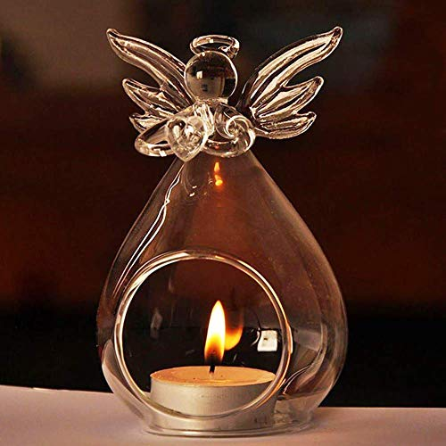 - Seeseas Guardian Angel Candle Holder Christmas Candlestick Glass Crystal Tea Light