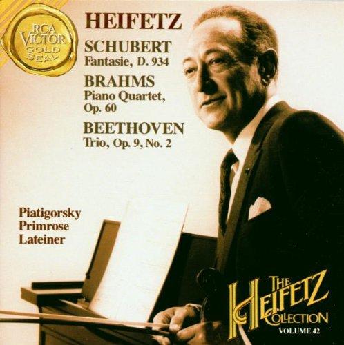Schubert: Fantaisie, D. 934 /  Brahms: Piano Quartet, Op. 60 / Beethoven: String Trio, Op. 9/2 (Heifetz Collection, No. 42)