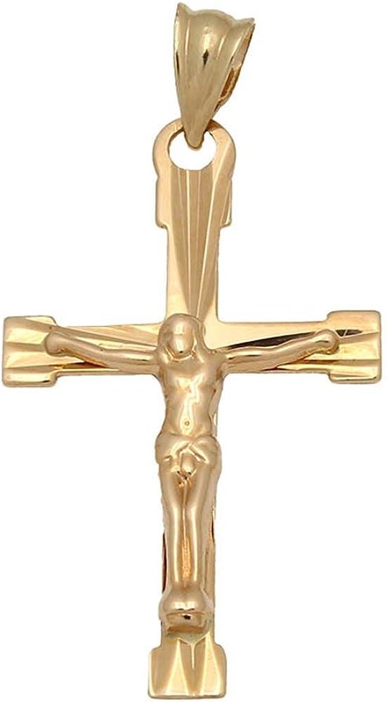 Minoplata Cruz con Cristo de Oro 18 KL. 17 x 28 Mm. una Joya eterna si Quieres Hacer un Regalo a un niño de Primera Comunión Que Sea un Recuerdo para Toda la Vida