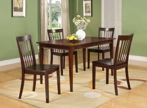 Amazon.com   Cherry Finish Wood Dining Room Kitchen Rectangular Table U0026 4  Chairs   Tables