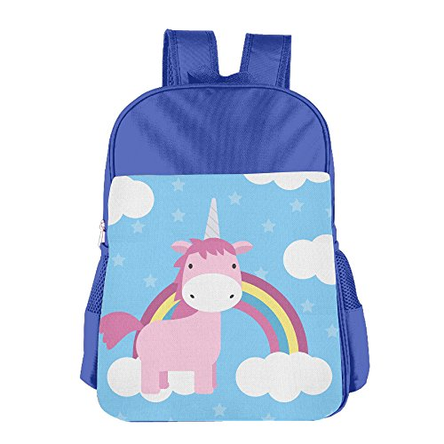 Kids Lovely Unicorn With Rainbow And Clouds Back To School Backpacks Students Bookbag Lunch Bag Tote Snack Bags With Water Bottle Pockets