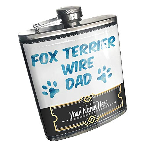 Fox Terrier Jewelry Wire - Neonblond Flask Dog & Cat Dad Fox Terrier Wire Custom Name Stainless Steel