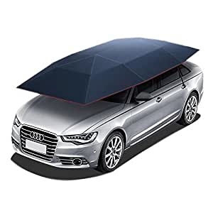 Reliancer Semi-automatic Car Tent Movable Carport Folded Portable Automobile Protection Car Umbrella Sunproof Sun Shade Canopy Cover Universal(157.48''X86.62'') (Blue)