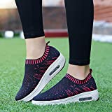 Red Ta Women Outdoor Flying weaving Mesh Casual Sports Shoes Thick-Soled Air Cushion Shoes Sneakers