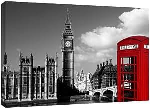 MOOL - Lienzo decorativo con marco de madera (81,3 x 55,9 cm, barniz impermeable giclée, listo para colgar), diseño del Big Ben y cabina telefónica de Londres, color blanco, negro y rojo