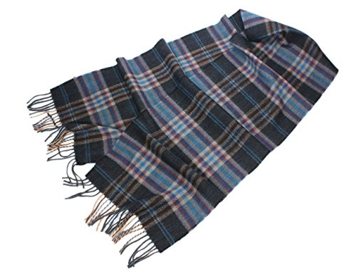 Wool Scarf 100% Merino Lambswool Blue & Tan Plaid Irish Made Brushed Wool Scarf