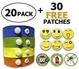 Mosquito Repellent Bracelet, Insect & Bug Repellent Bands,100% Natural,Keeps Pests & Bugs Away From Kids and Adults, Adjustable Wristbands for Indoor and Outdoor, 20 pack with FREE BONUS 30 patches