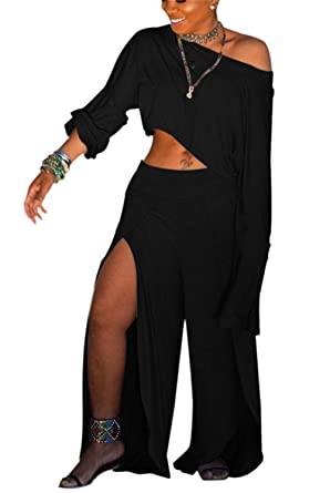 34ba46b2467 Women s Sexy Two Piece Outfits Loose Solid Crop Top and Split Wide Leg Long  Pants Jumpsuits