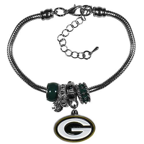 Siskiyou NFL Green Bay Packers Womens Euro Bead Bracelet, Metal, 7.5