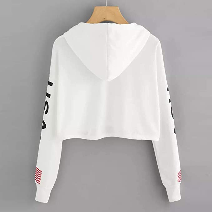 Amazon.com: Casual Sweatshirt,Lowprofile Solid Color Oversize Sweatshirt Long Sleeve Solid Color USA Word Print Midriff Blouse: Clothing