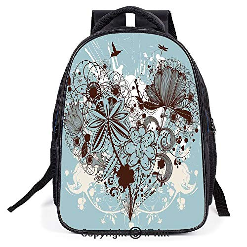 Relaxion Backpack Travel Backpack,Murky Floral Dragonfly Background with Swirls and Petal Retro Graphic,for Teenagers Men and Women's Backpack ()