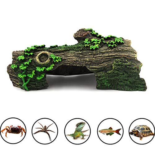 (Anxyuan Hide Hollow Tree Log Decaying Trunk, Resin Wood Decoration Fish Tank Aquarium Ornament with Green Grass Hide-Away Holes for Fish and Shrimp to Swim, 10.6'' x 5.9'' x 3.9'')