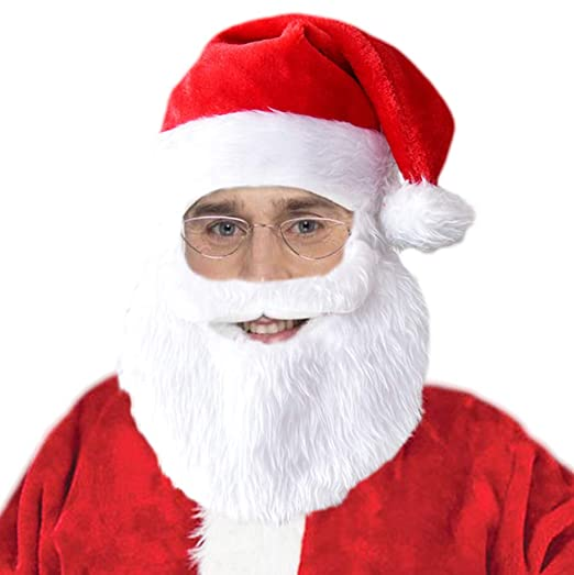 661958876ef3d Amazon.com  Gherorner Santa Hat with Beard Mustache Christmas Holiday Party  Hats White Red G003  Clothing