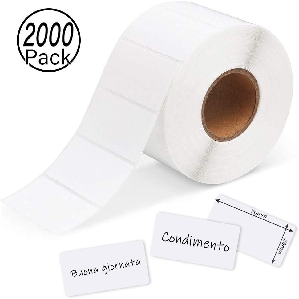 Yolistar 2000 Pezzi Etichette Adesive Bianche 50 X 25 mm Su Rotolo Multiuso,Utili in Cancelleria,Etichette Autoadesive per Stampante,Etichette Impermeabili Adesive Rimovibili Contrassegni