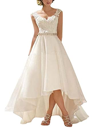 b8fc24d5f49 PROMLINK Tulle High Low Wedding Dress Spaghetti Strap Ball Gown for ...