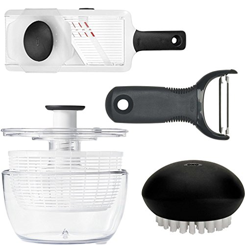 Good Grips Vegetable Brush, Good Grips Hand-Held Mandoline Slicer, Good Grips Y Peeler and Good Grips Salad Spinner 4-pc Set