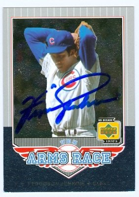 Cubs Chicago Jenkins Autographed Baseball (Autograph Warehouse 25141 Ferguson Jenkins Autographed Baseball Card Chicago Cubs 2001 Upper Deck Decade Legends Arms Race)