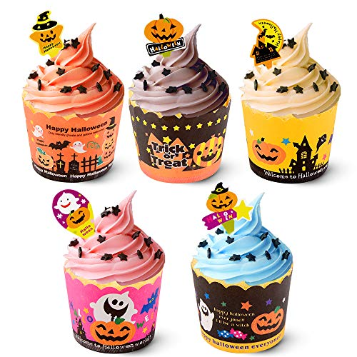 100 Pack Halloween Cupcake Decorations Halloween Baking Cups Cupcake Liners with Picks Cupcake Toppers Wrappers Pumpkin Ghost Bats for  Cupcake Decorations Halloween Party Supplies Party Favors