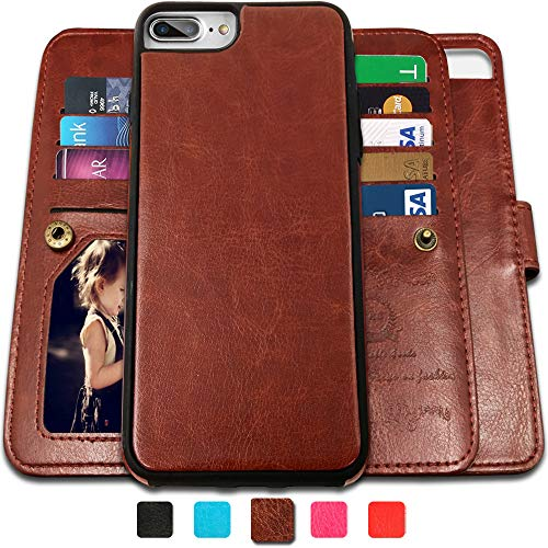 iPhone 8 Plus Case,iPhone 7 Plus Wallet Cases with Detachable Slim Case with 9 Card Slots,Stands,Strap for Apple iPhone 7 Plus(2016)/8 Plus(2017),CASEOWL 2 in 1 Folio Leather Removable TPU Case(Brown)