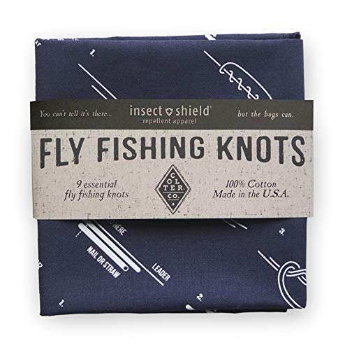 Survival Bandana with Insect Shield for Fishing, Camping, Hiking | How to Tie Fly Fishing Knots Print, Navy, 100% Cotton, Made in The USA ...