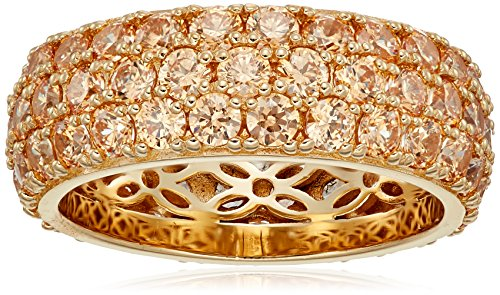 Platinum Pave Diamond Setting - Yellow-Gold-Plated Sterling Silver 3 Row Pave Ring set with Round Swarovski Zirconia (3.45 cttw), Size 8