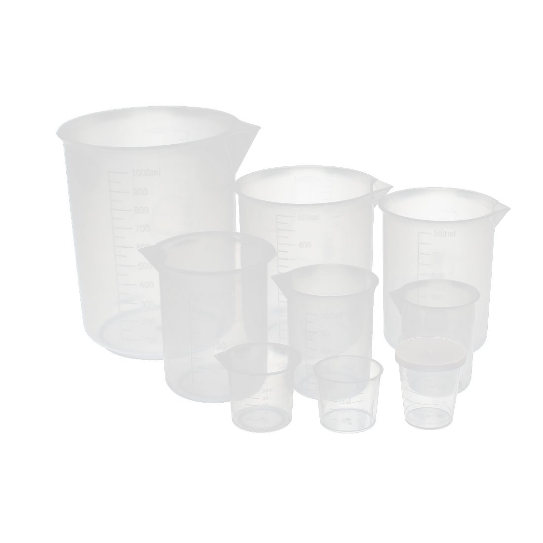 uxcell Set 20-1000mL School Laboratory Transparent Plastic Liquid Container Measuring Cup Beaker