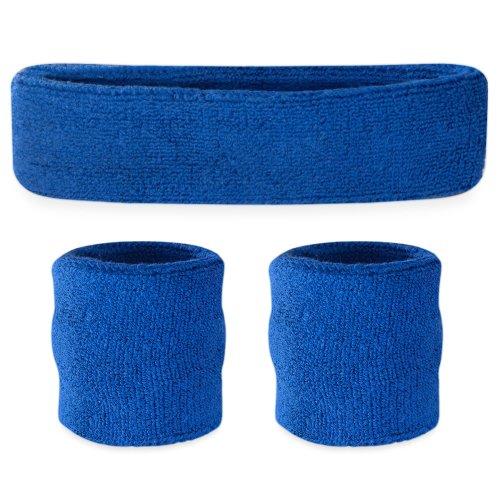 Suddora Kids Sweatband Set (1 Headband / 2 Wristbands) (Blue)