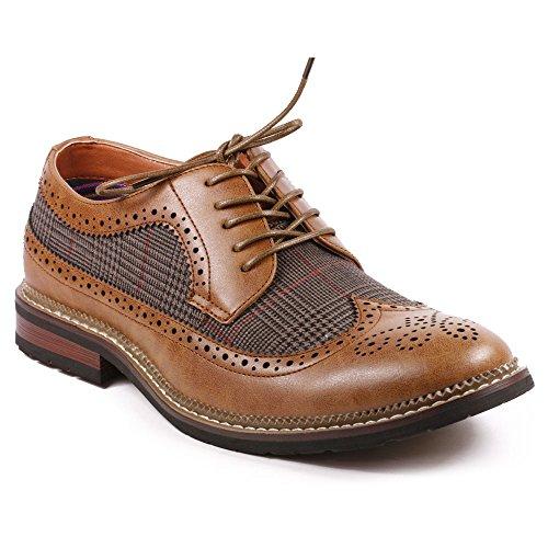 Metrocharm MET525-6 Men's Tweed Perforated Wing Tip Lace Up Oxford Dress Shoes (11, Tan Brown)
