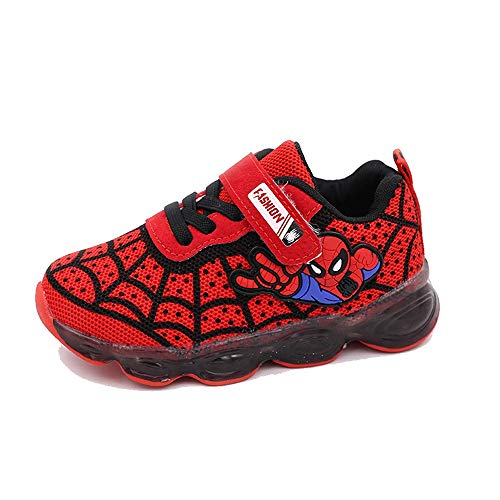 Kids Toddler Boys Spiderman Light Up Shoes Girls LED Sneaker Red 3 Big Kid]()