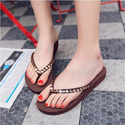 Sandals Thong Wedges Heel Mid Slippers Platform Womens Brown Rhinestone 6xpWH