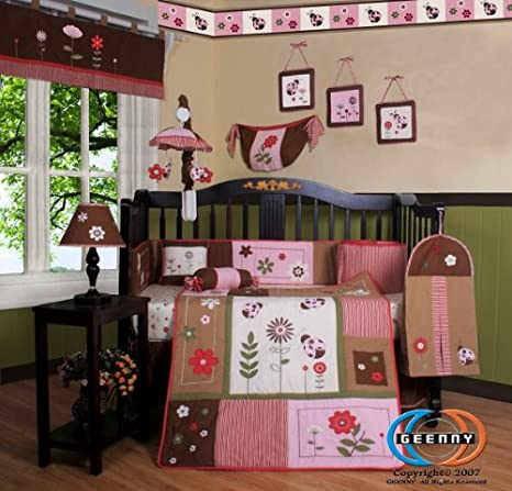 GEENNY Boutique Crib Bedding Set, LadyBug Flower, 13 Piece