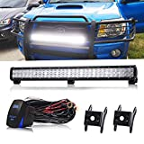QUAKEWORLD 28 Inch 180W Flood Spot Combo Beam Offroad Led Light Bar W/Rocker Switch Wiring Harness On Grill Windshield Bumper Roof Rack For Truck Honda Dodge 2500 Zero Turn Mini-Excavator Polaris RZR