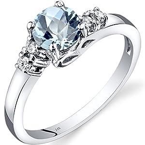 14K White Gold Aquamarine Diamond 5 Stone Ring 0.75 Carats Sizes 5-9