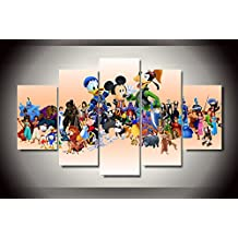 Cartoon Disney characters print poster canvas 5 pieces