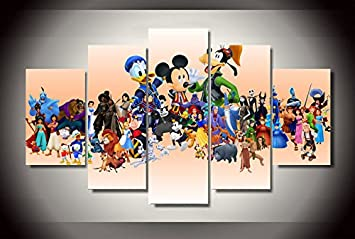 cartoon disney characters print poster canvas 5 pieces - Cartoon Characters To Print
