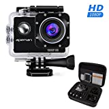 APEMAN Action Camera, 12 MP Full HD 1080P Waterproof Sport Cam with 170 Wide-Angle Lens and Rechargeable Battery, Include Portable Package