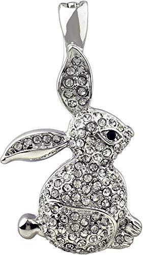 (Wearable Art by Roman Pave Rhinestone Rabbit Pendant Silver Tone)