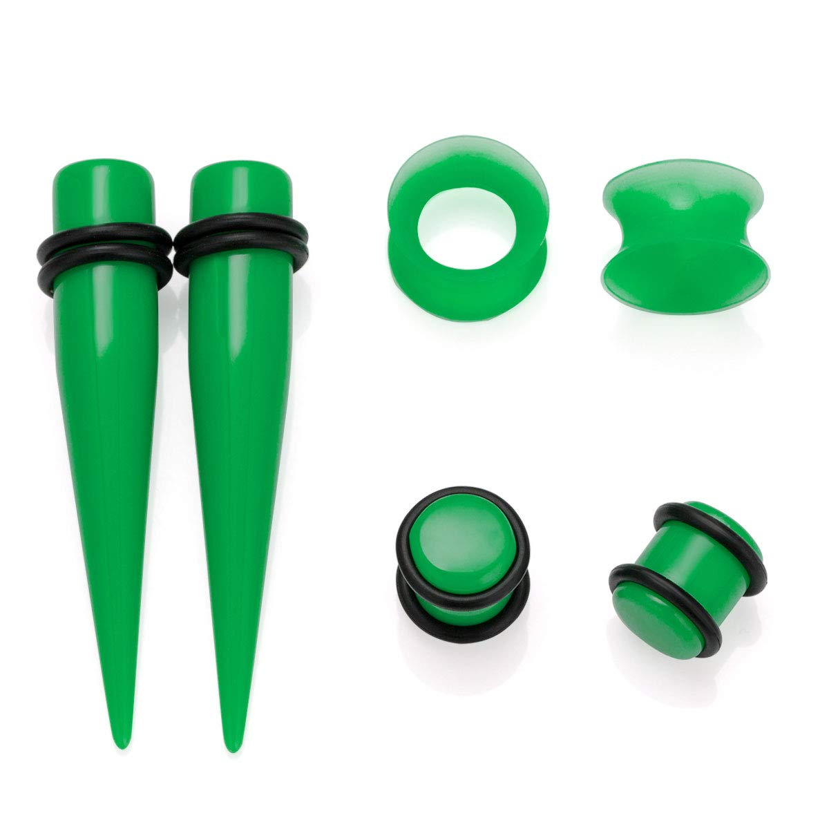 NASAMA 50Pcs Ear Gauge Stretching Kit 14G-00G Tapers Plugs Silicone Tunnels Gauges Expander Set Body Piercing Jewelry
