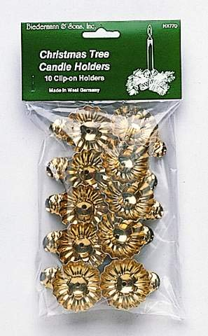 Clip On Candle Holders (Set of 10) Color: Gold Christmas Tree Candle Clips