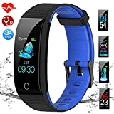 Fitness Trackers, IP68 Waterproof Activity Tracker with Heart Rate Monitor, Sleep Monitor, Step Counter,Calorie Counter,Pedometer Watch with Connected GPS for Kids Women Men(Black/Blue)