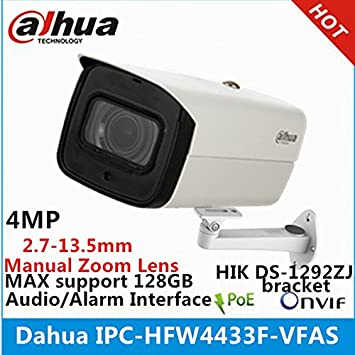 Dahua 4MP Starlight Camera IPC-HFW4433F-VFAS 2.7-13.5mm Zoom Lens Camera