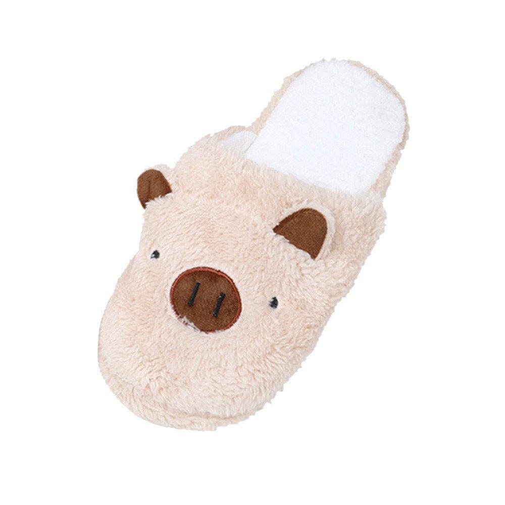 Faionny Women Shoes Flock Slippers Winter Warm Plush Shoes Lovely Pig Home Slipper Soft Stripe Slippers Single Shoes
