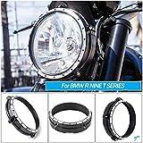 "Motorcycle Black Silver Motor Aluminum 7"" Headlight"