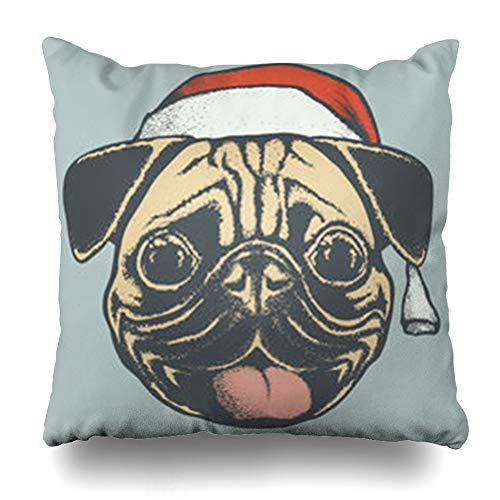 - GisRuRu Throw Pillow Covers Nature Adorable Pug Dog Head Santa Hat Wildlife Amusing Christmas Holidays Bulldog Carlin Charming Home Decor Sofa Pillowcase Square Size 18 x 18 Inches Cushion Cases