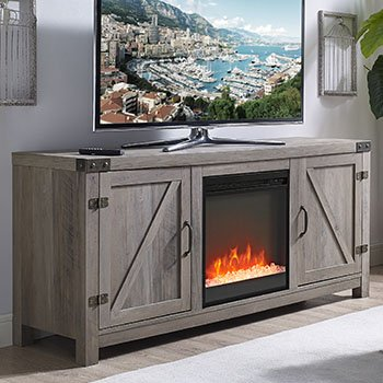 New 58 Inch Barn Door Fireplace Television Stand in Grey Wash Color by Home Accent Furnishings