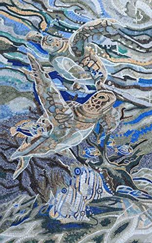"Mozaico Sea Turtles and Fish Mosaic Pool Tile   Mosaic Designs   Mosaic Artwork   Mosaic Wall Art Floor Inlay Handmade Mosaics   26"" x 41"""