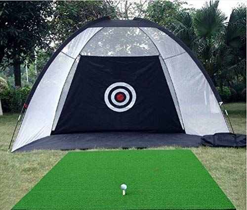 77tech 10' Golf Practice Net Driving Net System Tri-Ball Hitting Net with Target (Black) -