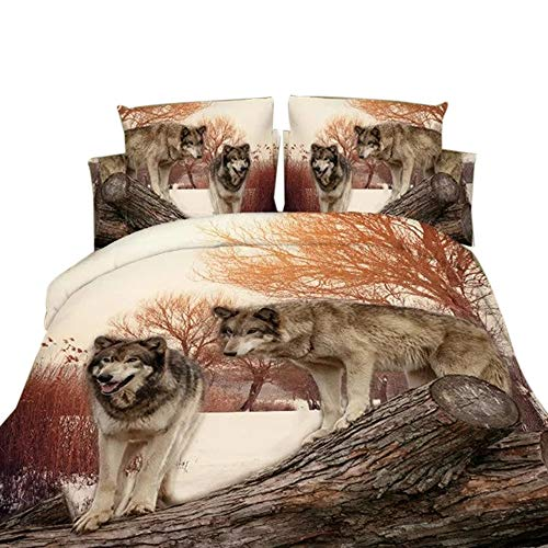 Ammybeddings 4 piece Wolf Bedding set with 1 Duvet Cover 1 Flat Sheet and 2 Pillowcase,Cool 3D grown duvet cover, Full Size (Wolf Bedding Full Size)